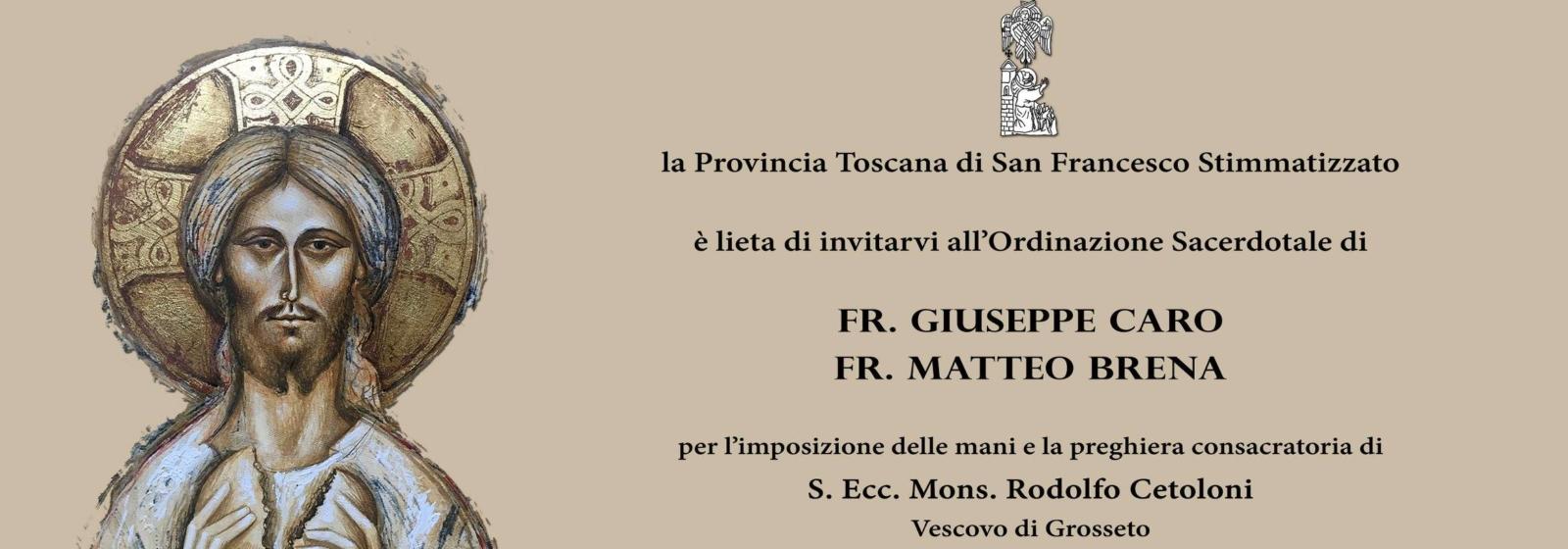 Ordinazione Sacerdotale di fra Giuseppe Caro e fra Matteo Brena