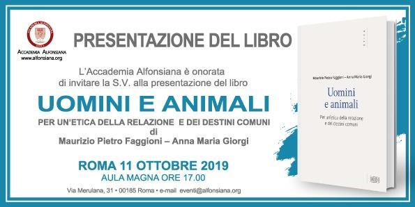 """Presentazione del libro """"Uomini e Animali"""". di M. P. Faggioni e A. M. Giorgi"""